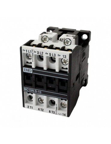 Contacteur tripolaire de puissance 10A 1 NF bobine 24v 50hz IMO ref : MC10N0124AC