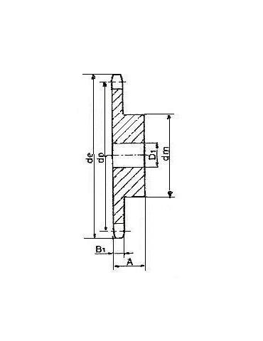 Pignon 12.7 simple 14 A dents ref: pig08b1/14A