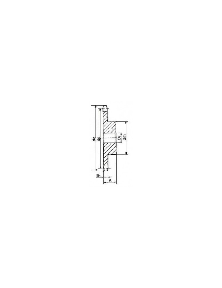 Pignon 19.05 simple 17 dents ref: pig12b1/17