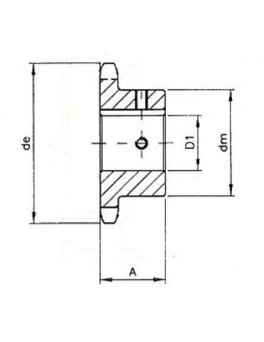 Pignon 12.7 simple 12 dents A25 ref: pig08b1/12A25
