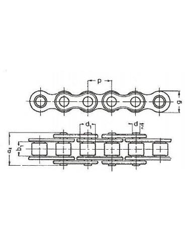 chaîne à rouleaux ASA80 pas 19.05 ref : CHNASA80