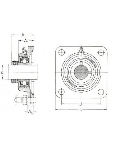 Palier applique fonte 4 trous FY35TF SKF  ref: FY35TF