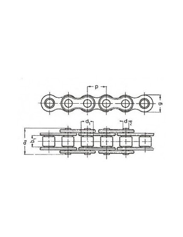 Chaine a rouleaux simple 12.7  08b1 nickelée BEA (boîte 5m) ref: CHN08B1NI