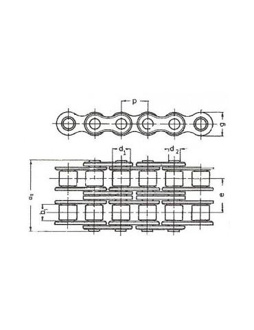 Chaine a rouleaux simple 25.4  16b3  bea (boîte 5m) ref: chn16b3