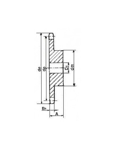 Noix fonte chaîne d8mm 14 pans ref: noifd8p14
